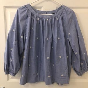 J. Crew Embroidered Flower Blouse